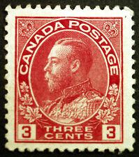 Canada #109c 3c Carmine Die II 1918 King George V VF-XF *MLH* Full Gum Rare