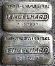 ✰✰ Lot of 2 Vintage ENGELHARD 5 OZ Silver Ingot Bars w/ James Bond 007 Prefix ✰✰