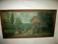 19th c. FRENCH OIL PAINTING PROVENCAL COTTAGE WOOD BACK ROSES 1880's DUBOIS