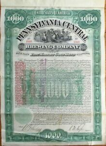 Beer 1897 Gold Bond Certificate: Pennsylvania Central Brewing Co. - Brewery PA