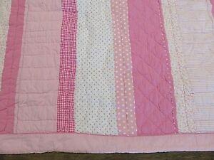 "Pottery Barn Kids Patchwork Quilt Pink Polka Dot Stripes 80: x 80"""