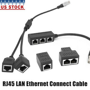 3in1/2in1/1in1 RJ45 Ethernet Network Splitter Cable Extender Adapter Connector