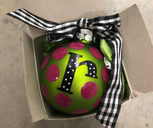 Coton Colors Initial R Christmas Ornament Green Pink with Box New