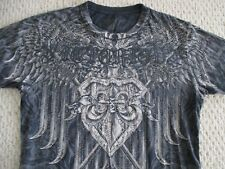 VICTORIOUS Crystal Studded Gray T-Shirt Sz XL