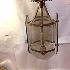 Vtg MCM Beveled Smoked Glass Hanging Porch Celing Light Fixture Brass HINKELEY