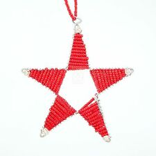 Red Africa Handmade Maasai Bead Wire Christmas Star Ornament