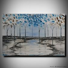 Abstract Winter Landscape Oil Painting Trees Original Modern Art by Ann Mikhail