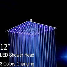 "Fyeer 12"" LED Rainfall Shower Head Square, Ultra-thin Luxury Bathroom Showerhead"