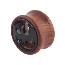 Wood Batman Pattern Ear Tunnel Plug Wooden Stretcher Retro Taper Piercing A774