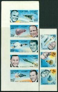 EDW1949SELL : QATAR 1966 Scott #121-121A Space. Scarce Imperf Cplt set. VF, MNH.