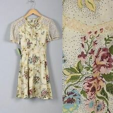 1980s NOS Girls Cream Multicolored Floral Lace Sleeve Dress Victorian Revival