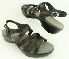 Dansko Black Lizard Print Leather Strappy Ankle Buckle Sandals Women's US 9.5-10