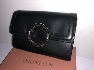Oroton Leather Ashbury  Fold Wallet PURSE BNWT Black