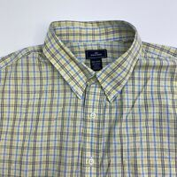 Dockers Button Up Shirt Mens XXL Yellow Blue Plaid Short Sleeve Casual