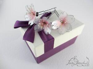 Pearl Sakura Flowers Set of 3 Hair Pins Bridal Japanese Kanzashi Sakae Resin