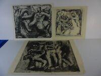 Rudolf Rothe Drei mittelgroße Radierungen/Aquatinta, Widmung, signiert, datiert