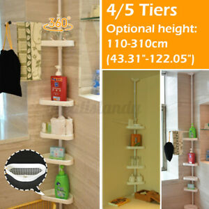 4/5 Shelf Shower Corner Tension Pole Caddy Organizer Bathroom Bath Storage Rack