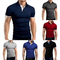 hot Men's V-Neck Slim Fit T-shirts Contrast Casual shirt Short Sleeve Outfit Top