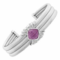 3 ct Natural Amethyst & 1/5 ct Diamond Cuff Bracelet in Sterling Silver