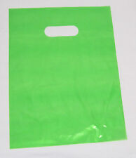 """100   15"""" x 18"""" LIME-GREEN GLOSSY Low-Density Plastic Merchandise or Party Bags"""