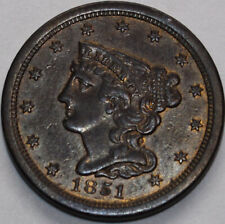 1851 Half Cent with very little wear. You will receive the coin shown.
