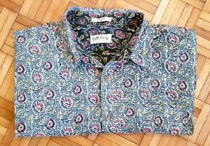 ORVIS | Mens Grey Floral 100% Cotton Short Sleeve Shirt | XXLarge