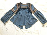 FREE PEOPLE EMBROIDERED PEASANT BLOUSE  S Small Med M Top Blue Shirt Boho Hippie
