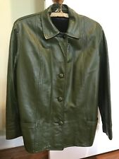 Dark Olive Green Retro Leather Jacket Unisex Mens Womens S Small Great Condition