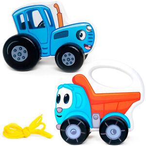 Bochart Gurney Blue Tractor, Leo The Truck, Wood Toy Figurine, Original