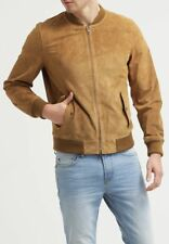 Mens Suede Leather Jacket Bomber Motorcycle Tan Slim Fit Lambskin Jacket - 180
