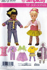 """SIMPLICITY SEWING PATTERN 3873 18"""" DOLL CLOTHES, TOPS, SKIRT PANTS COAT BACKPACK"""