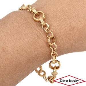 Estate 18K Gold Textured Rolo Style Link Chain Bracelet 16.3 Grams NR