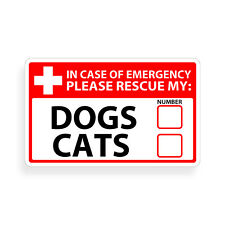 Dog Cat Emergency Pet Alert 911 Rescue Window Sticker First Rescue FIRE Safety