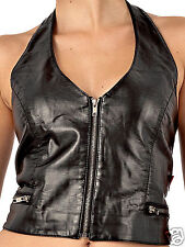 QUEEN OF DARKNESS Gilet Nero in ecopelle con cerniera S faux leather Waistcoat