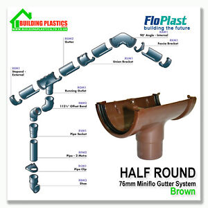 MINI SMALL GUTTERING & FITTINGS BROWN FOR SHEDS | PORCHES | CONSERVATORIES | ETC