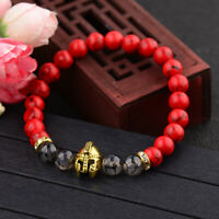 8mm Gold Spartan Helmet Charm Men Natural Red&Black Beaded Lava Stone Bracelet