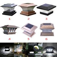 Solar LED Pfosten Plattform Kappen Quadrat Zaun Licht Garten Landschaftslampe DE