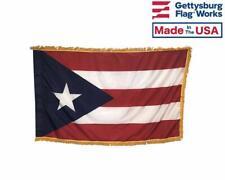 3x5' Puerto Rico Indoor Flag with Pole Hem & Gold Ornamental Fringe