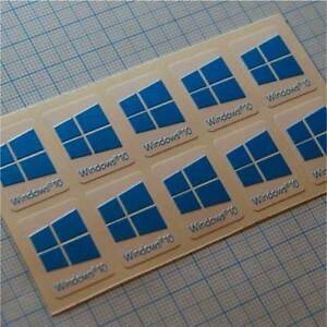 10 x Windows 10 Sticker Badge Logo Decal for laptop PC - HD Quality ( cyan )