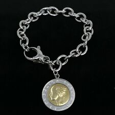 Bronzo Italia Bronze 500 Lire Coin Oval Rolo Link Bracelet