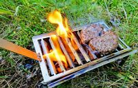 Mini Stainless Steel Flat Pack BBQ Grill Firepit Portable Camping Fishing Hiking