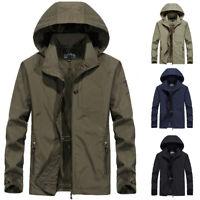 Men's Waterproof Windbreaker Hooded Jacket Breathable Coat Outwear Rain Overcoat