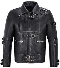 Para Hombre Chaqueta de cuero negro inspirado en Michael Jackson Chaqueta de moda de música MJ MAL