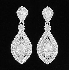 Drop Austrian Rhinestone Crystal CZ Chandelier Dangle Earrings Wed E3510 Silver