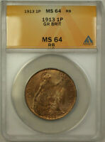 1913 Great Britain 1 Penny Coin King George V ANACS MS 64 Red Brown