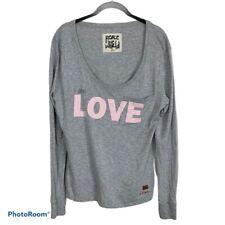 "Peace Love World Long Sleeve Gray Shirt ""I am Love"" Women's size L"