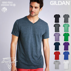 Mens V-Neck T-Shirt Gildan Ringspun Softstyle Soft Cotton Short Sleeve Plain Top