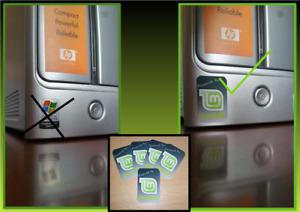 3x Linux Mint Desktop Computer / (Dark) Laptop Badge Decal Vinyl Sticker 20x30mm