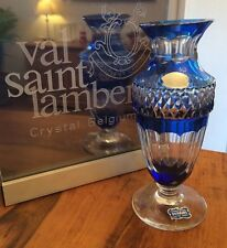 Val Saint Lambert - grand modèle Gary - doublé bleu cobalt - signé