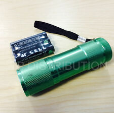 Torch 9 LED Metal  in Green for Police,PCSO, Security, Ambulance, Paramedic